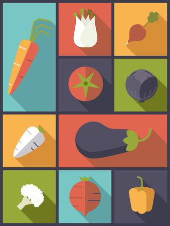 Gesundes Gemüse Icons Vektor-Illustration.
