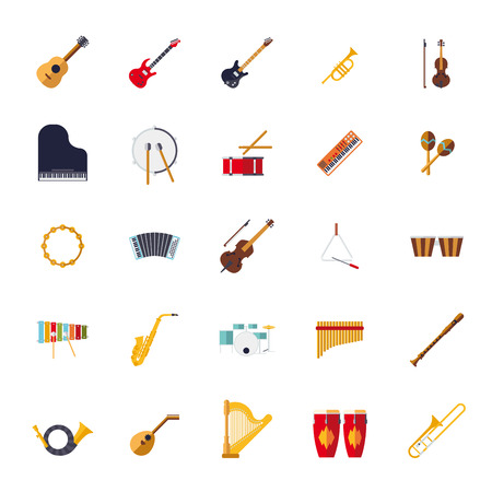Musical Instruments Isolated Flat Design Vector Icons Collection Vettoriali