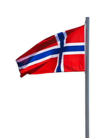 flagpole: Flag of Norway at flagpole isolated on white