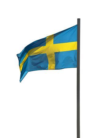 flagpoles: Flag of Sweden at flagpole isolated on white background Stock Photo
