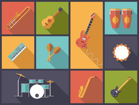 tambor: Instrumentos Musicales en Jazz Pop y Rock iconos ilustración vectorial. Vectores