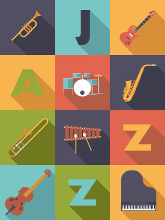 brass wind: Jazz Music Poster Flat Design Vector Illustration