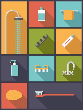Personal hygiene Flat Design Icons Vector Illustration Ilustracja
