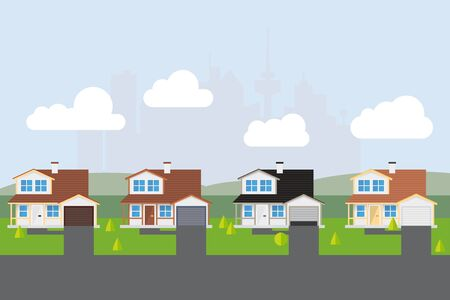 Vector illustration of American suburban street with almost similar houses.