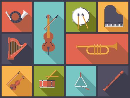 Classical Music Instruments Flat Icons Vector Illustration  イラスト・ベクター素材