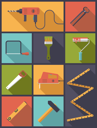 home improvement: Home Improvement Tools Flat Icons Vector Illustration Illustration