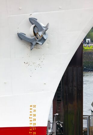 prow: Anchor on prow of ship at the port of Hamburg