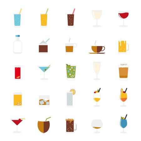 격리 음료 및 음료 아이콘 벡터 설정입니다.