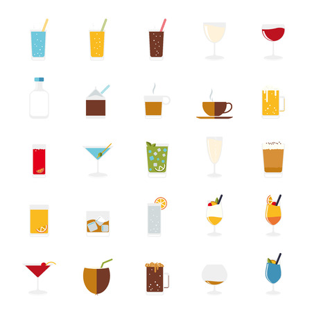Isolated drinks and beverages icons vector set.