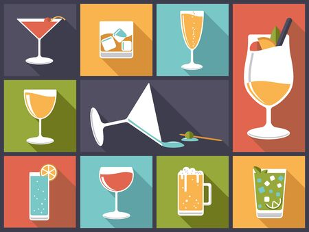 collins: Alcoholic drinks vector illustration Illustration