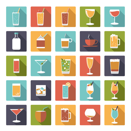 pina colada: Square drinks and beverages icons vector set