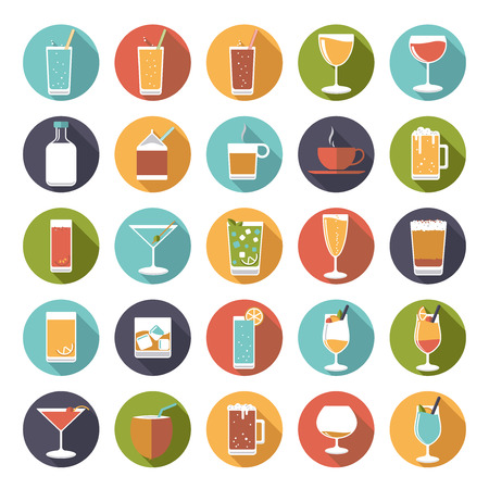 drinking: Circular drinks and beverages icons vector set