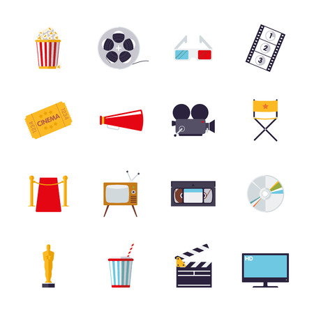 strip show: Collection of 16 flat design cinema and movie themed icons Illustration