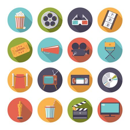 event icon: Collection of 16 flat design cinema and movie themed icons in circles Illustration