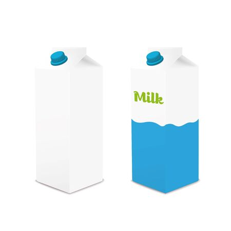 cartons: Milk cartons with and without signage on white background vector illustration Illustration