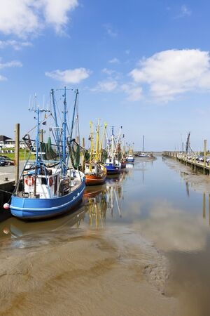 the wadden sea: Fishing boats at the harbor of Dorum on the wadden sea coast at low tide