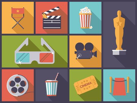 movie and popcorn: Horizontal flat design illustration with various movie and cinema icons