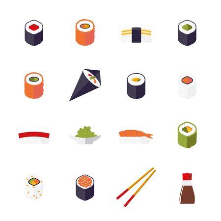 chop sticks: sushi related icons isolated on white background Illustration
