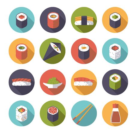 sushi: Set of 16 sushi related icons in circles, flat design, long shadow Illustration