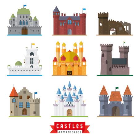 castillo medieval: Conjunto de 9 castillos diseño plano y fortalezas iconos vectoriales