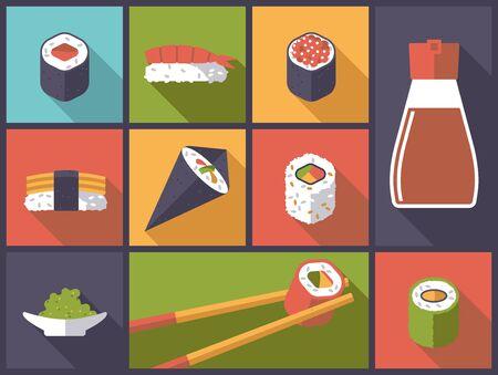 horizontal: Horizontal flat design illustration with sushi related icons