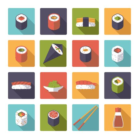 chop sticks: Set of 16 sushi related icons in rounded squares, flat design, long shadow