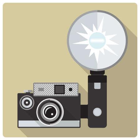 strobe: Flat design retro vector icon of vintage compact camera with flash Illustration