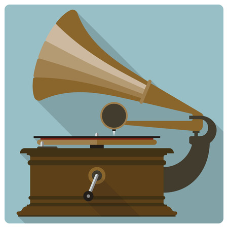 antic: Retro-Styled flat design vector icon of vintage gramophone