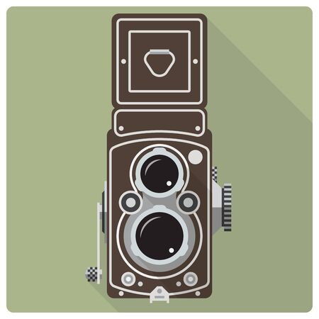 reflex: Flat design retro vector icon of vintage twin lens reflex medium format camera Illustration