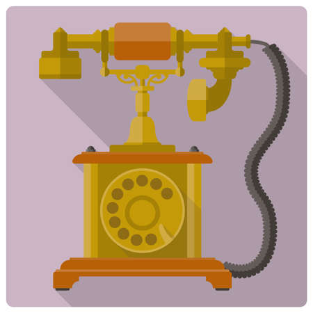 vintage telephone: Retro style flat design vector icon of vintage telephone