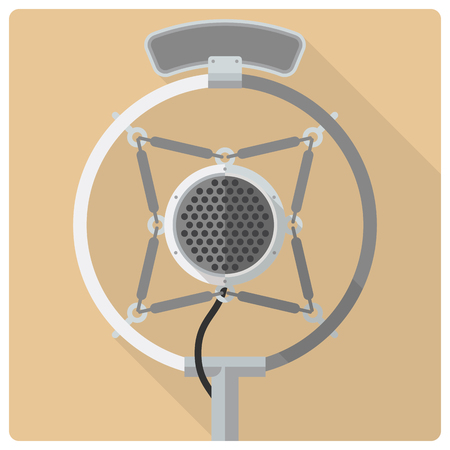 microfono de radio: Estilo retro del vector del icono diseño plano del micrófono de la radio de la vendimia