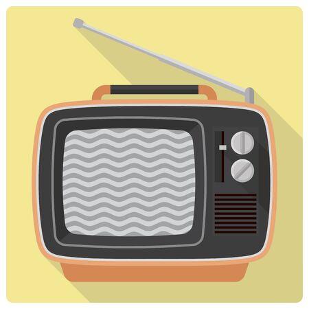 retro tv: Retro styled flat design vector icon of 1970s portable television set Illustration