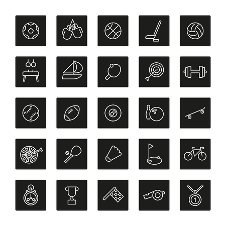 pommel: Set of 25 sports related line icons in black squares with rounded corners