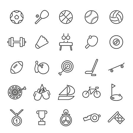 biking glove: Set of 25 black sports related line icons Illustration
