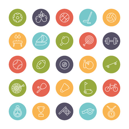 biking glove: Set of 25 sports related line icons in colored circles