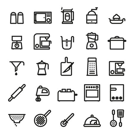 cooking utensils: Cooking Utensils and Kitchen Appliances  bold black line icons vector set Illustration