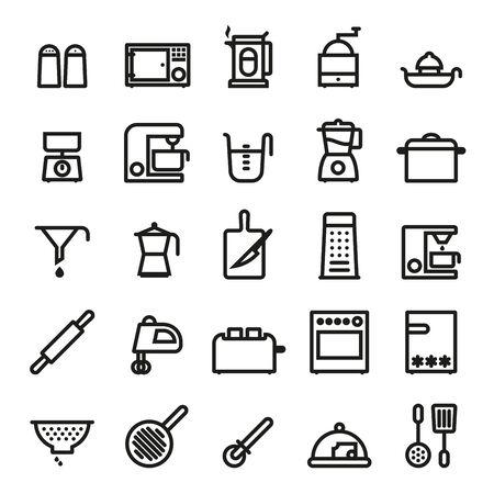 Kookgerei en keukenapparatuur vette zwarte lijn iconen vector set