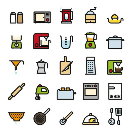 kneading: Cooking Utensils and Kitchen Appliances flat colored line icons vector set