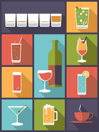 shot glass: Vertical flat design illustration with various drinks and beverages