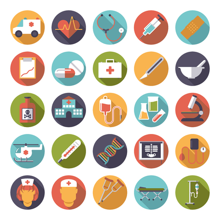 pressure bottle: Set of 25 medical and healthcare related icons in circles, flat design, long shadow Illustration