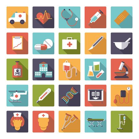 crutches: Set of 25 medical and healthcare related icons in rounded squares, flat design, long shadow