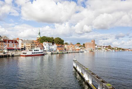 inlet: Waterfront of Kappeln on the Schlei inlet Stock Photo