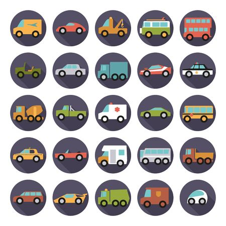 police car: Automobiles Flat Design Round Vector Icons Collection