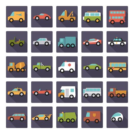 coupe: Automobiles Flat Design Square Vector Icons Collection Illustration