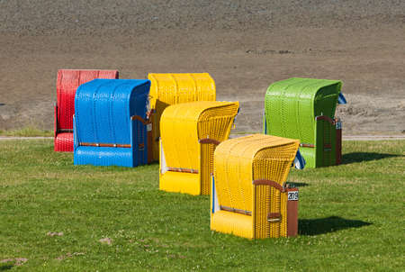 north sea: Colorful beach chairs at the german North Sea coast