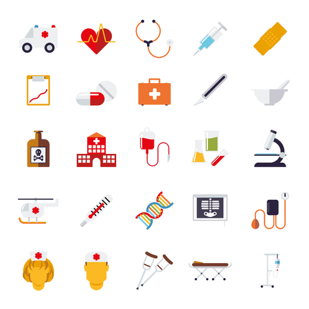 pressure bottle: Set of 25 medical and healthcare related icons, flat design, isolated on white