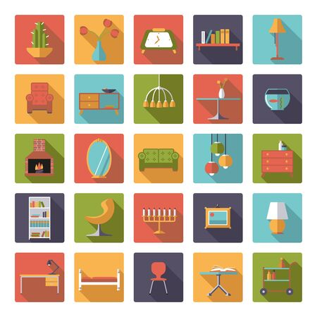 interior decoration: Set of 25 interior, furniture and home decoration icons in rounded squares, flat design, long shadow