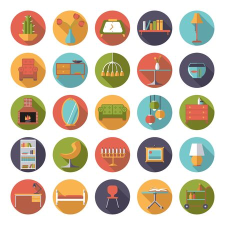 home furniture: Set of 25 interior, furniture and home decoration icons in circles, flat design, long shadow