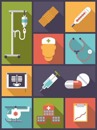 iv drip: Vertical flat design illustration with various medical and health care related icons