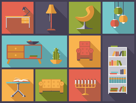 interior decoration: Horizontal flat design illustration with various interior, furniture and home decoration icons